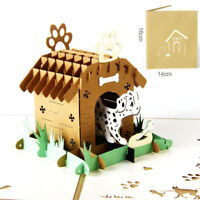 3D PopUp Postcards For Birthday Laser Cut Greeting Cards Pets Dogs Animal GF