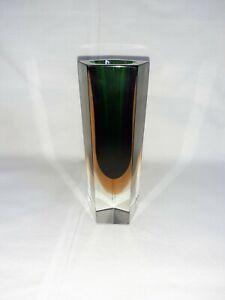 Murano Glas Blockvase 'Sommerso', 60er