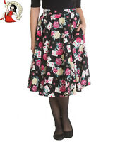 HELL BUNNY QUEEN OF HEARTS SKIRT 50s cards FLORAL rose CIRCULAR BLACK XS-4XL