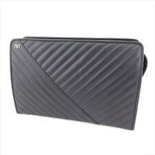 Valentino Garavani Clutch bag logos Black leather Woman Authentic Used T8666