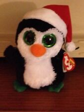 "9"" Ty Beanie Boo Med Buddy Size Igloo Penguin With Santa Hat +Green Eyes"