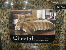 3pc Set CHEETAH Leopard KING FAUX FUR Duvet Cover & Shams Luxurious Bedding