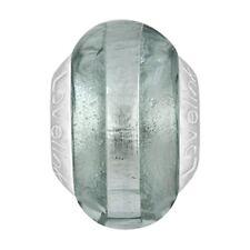 Lovelinks Bead Sterling Silver, Grey Silver Foil Stripe Murano Glass Charm TM394