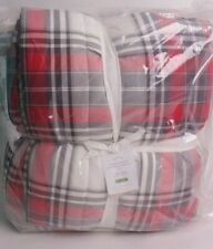 NWT Pottery Barn Hamilton Plaid reversible comforter, king, red white Christmas