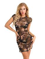 Sexy Damen Mesh Sheer Transparent Camouflage Sommerkleid Partykleid Mini Dress