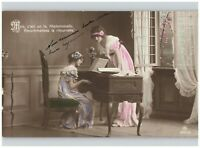French Girl Playing Piano Lesson Hand Painted RPPC 1914 Belgium