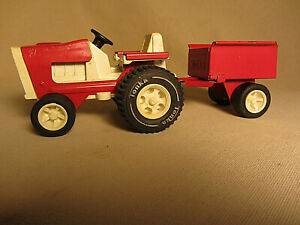 Vintage Tonka Garden Tractor With Trailer Red And White Metal