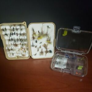 Shirt Pocket Fly Boxes With Lot 90+ Hand Tied Flies for Fly Fishing