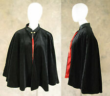 Victorian Black Velvet Lined Red Satin Half Cape Cloak Civil War Dickens Cosplay