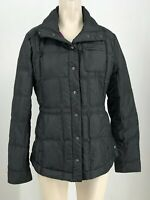 ATHLETA - WOMEN'S SMALL - BLACK SNAP GOOSE DOWN QUILTED POLYESTER JACKET