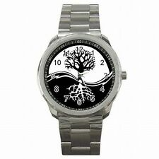Yin Yang Tree of Life Symbol Black White Taoism Stainless Steel Watch