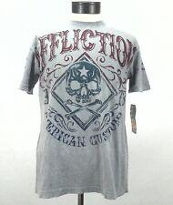 New Affliction American Customs 1973 Mens Distressed T-Shirt Gray Medium