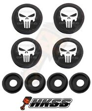 4 Black Custom License Plate Frame Tag Screw Cap Covers - PUNISHER SKULL SCN