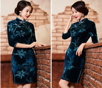 Vintage Cheongsam QiPao Velvet Chinese Women Dress Evening Party Short Dress