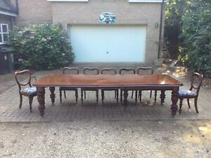 LARGE 10FT VICTORIAN MAHOGANY EXTENDING WIND OUT DINING TABLE