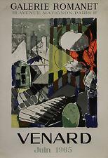 """""""VENARD /EXPO GALERIE ROMANET 1965"""" Affiche originale entoilée Litho IMP. BALLON"""