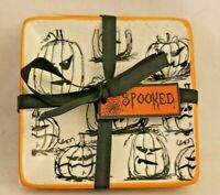 Spectrum Designz Spooky Jack Halloween Square Appetizer Plates Set of Four New