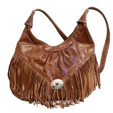 Womens Shoulder Handbag Fringe Hobo Bag Light Soft Genuine Leather Purse Brown