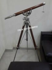 Nautical Marine Chrome Collection Brass Telescope With Brown Tripod Stand