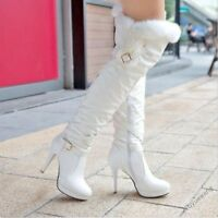 Winter Womens Fur Trim Buckle Strap High Heel Platform Over The Knee Boots New N