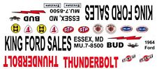 King Ford Sales 1964 Thunderbolt 1/43rd Scale Slot Car Decals Drag NHRA