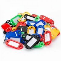 Pack of 50 Plastic Colour Car House  Key Tags with Paper Inserts Split Rings