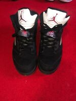 2011 Nike Air Jordan 5 V Retro Black Metallic Silver size 9
