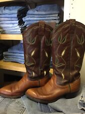 Vtg RALPH LAUREN WESTERN Womens 6.5 Leather Inlay Classic Cowboy Boots 1990's