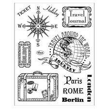 Tampons transparents Viva VOYAGE VACANCES valise scrapbooking carterie stamps