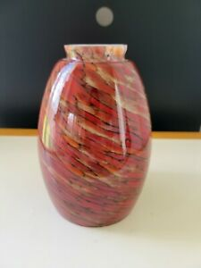 Art Glass Pendant Ceiling Light Lamp Shade Brown Orange Swirl Two Tone