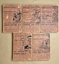 Antique Thornton Burgess Adventures Mr Toad Billy Possum Bobby Coon Sammy Jay