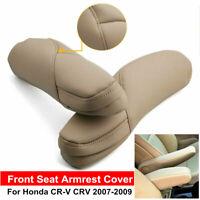 Gray/Beige Leather Seat Armrest Replac Cover Left+Right For Honda CR-V CRV 07-09