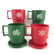 Tupperware Red & Green Stackable Mug & Coaster Set of 4 Christmas Dove Snowflake