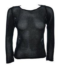 New Girls Teens One Size New Black See Through Crochet Long Sleeve Top Ladies 6