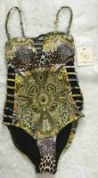 Cyn & Luca Womens XS Cut Out One Piece Yellow Black Leopard SwimSuit NWT