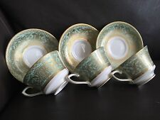 "3 Rare Royal Worcester ""Embassy"" English Fine Bone China Teacup & Saucers Sets"