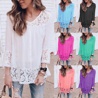 Women's Solid Lace Crochet 3/4 Sleeve Tops Summer Holiday Casual Blouse T Shirts