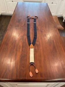 Vintage Brooks Brothers Blue Silk and Leather Mens Suspenders, Braces