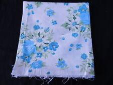 Vintage Open FEEDSACK FEEDBAG Quilt Fabric Blue Roses White Flowers Green Leaves