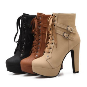 Womens Gothic Buckle Lace Up High Heels Pumps Platform Ankle Boots Shoes NEW D