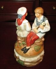 """Vintage Hand Painted Ceramic Lovers Music Box """"A Time For Us"""" Romeo & Juliet Gc"""