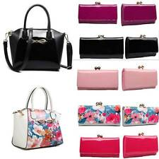 Womens Designer  Patent Leather Ball Clasp Wallet Clutch Purse Shoulder Tote Bag
