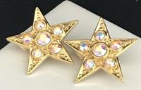 Kirks Folly Earrings Gold Star Aurora Borealis Crystal Clip RARE 2O