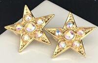 Kirks Folly Earrings Gold Star Aurora Borealis Crystal Clip RARE 2O