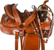 "15"" CARVED WESTERN SHOW PLEASURE TRAIL LEATHER HORSE SADDLE TACK SET"