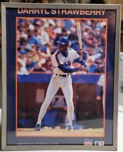 Vintage 1988 Darryl Strawberry Starline Mini Poster New York Mets 8 x 10 Framed