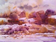 8x10 Pamela Wilhelm Original Watercolor Golden Autumn Barns Fields & Moody Sky