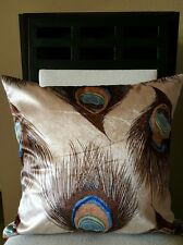 """Beautiful Boho Vintage Peacock Feathers Throw Pillow Case Cover 18"""" US SLR"""