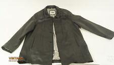 Adler Men's Black Leather Trench Coat Size M