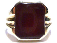 ANTIQUE MENS OLD LARGE CARNELIAN 10K YELLOW GOLD DESIGNER B&F SHIELD RING SZ 10